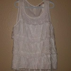 White Lace Front, Sleeveless Top